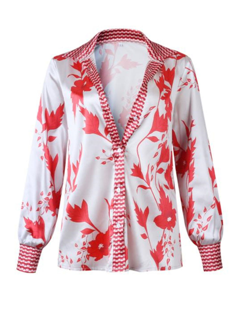 Printed Floral Holiday Blouse