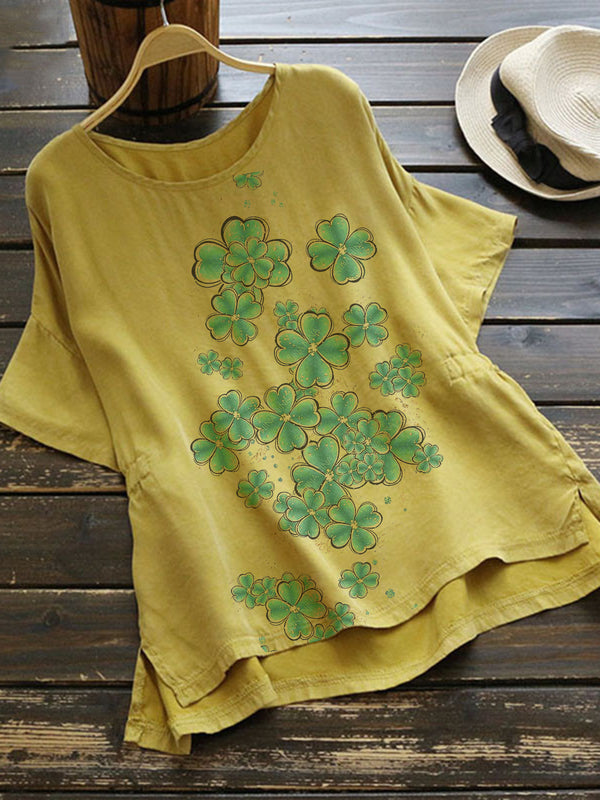 Yellow Plants Crew Neck Short Sleeve Cotton-Blend Shirts & Tops