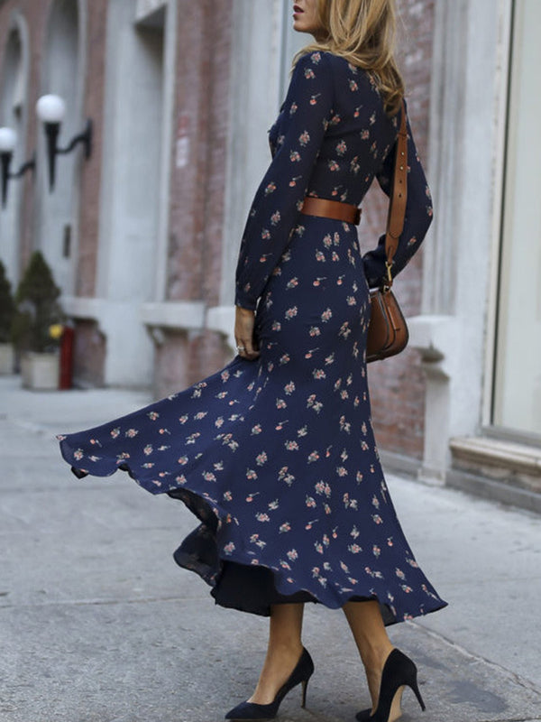 Tie-Neck Floral Printed Casual Maxi Dress