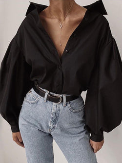 Black Balloon Sleeve Casual Blouse