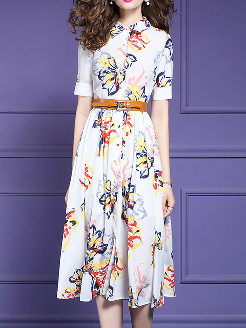 Date Printed Floral Midi Elegant Dress