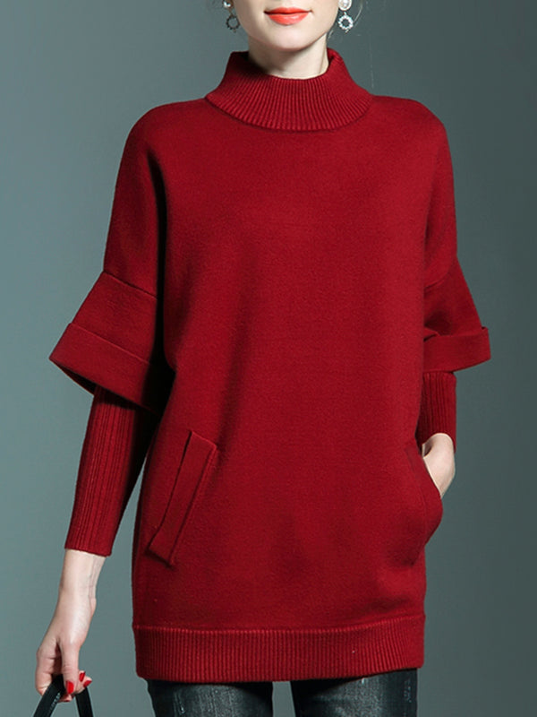 Red Casual Solid Turtleneck Sweater