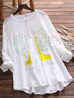 White Leaves Cotton-Blend Pastoral Shirts & Tops