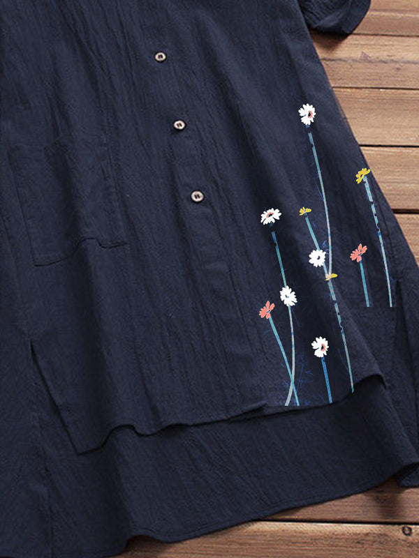Dark Blue Pastoral Floral Cotton-Blend Shirts & Tops
