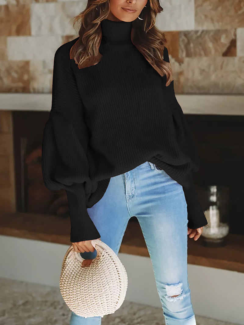 Turtleneck Knitted Balloon Sleeve Shift Casual Statement Sweaters