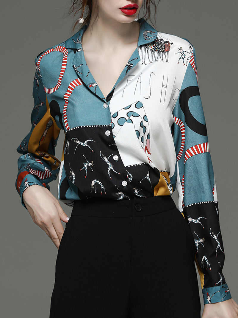Casual Shift Lapel Printed Blouse