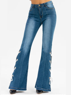 Pockets Lace-up Casual Shift Jeans