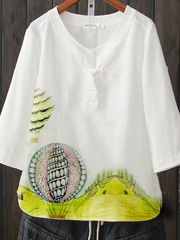 White Cotton-Blend Short Sleeve Shirts & Tops