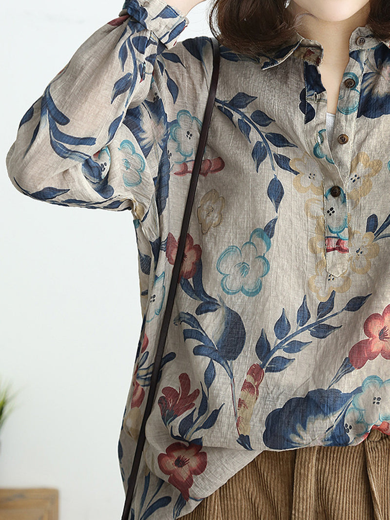 Graphic Printed Casual Linen Blouse