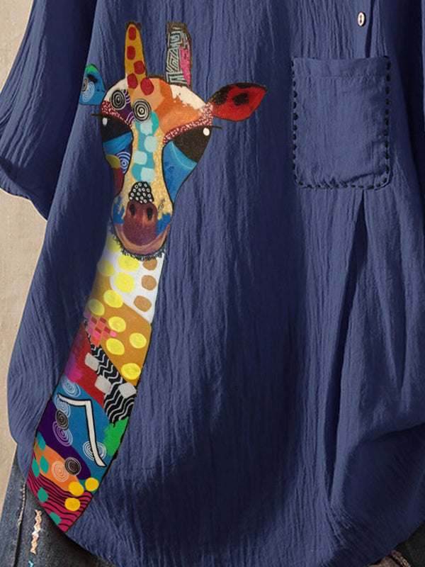 Blue Casual Animal Cotton-Blend Shirts & Tops