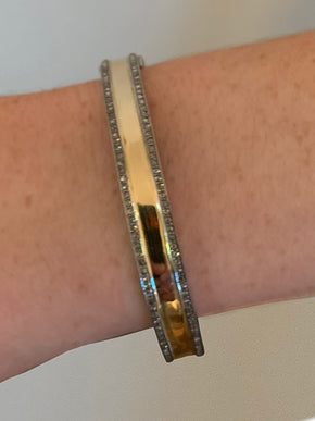 14kt Gold and Sterling Bangle with Pave Diamonds.
