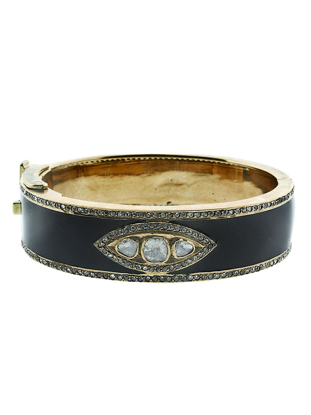Brass and Enamel Bangle with Diamond Eye and Pave Diamonds.