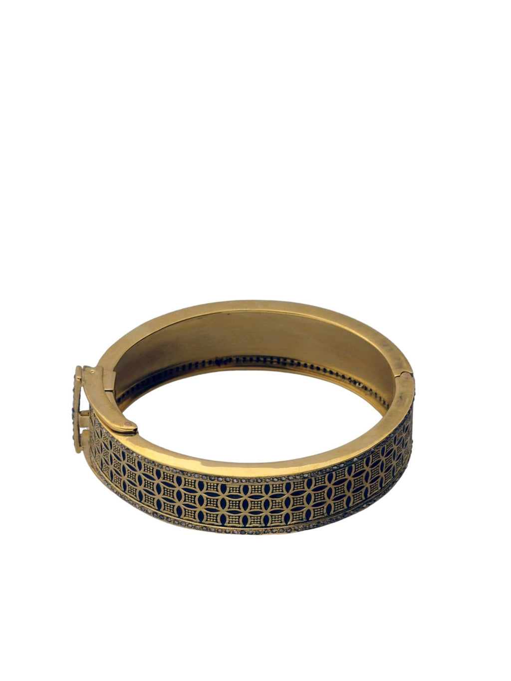 Brass Lattice Bangle with Pave Diamonds.