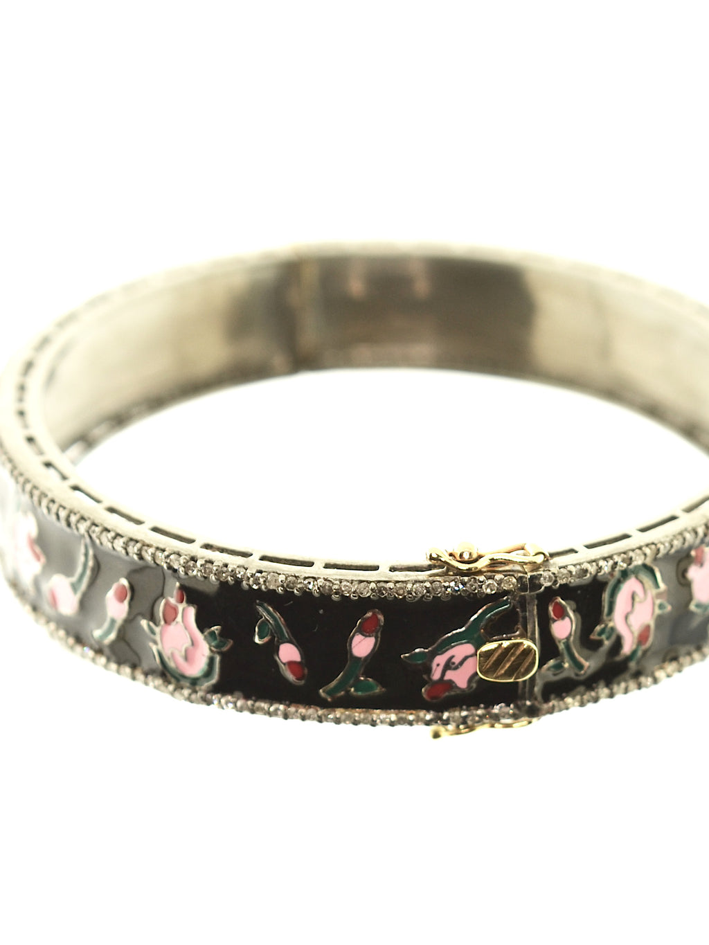 Pink and Black Enamel Rose Bangle with Pave Diamonds in Sterling