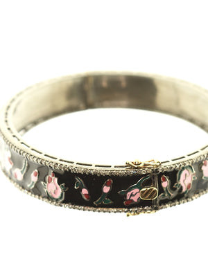 Pink and Black Enamel Rose Bangle with Pave Diamonds in Sterling Silver