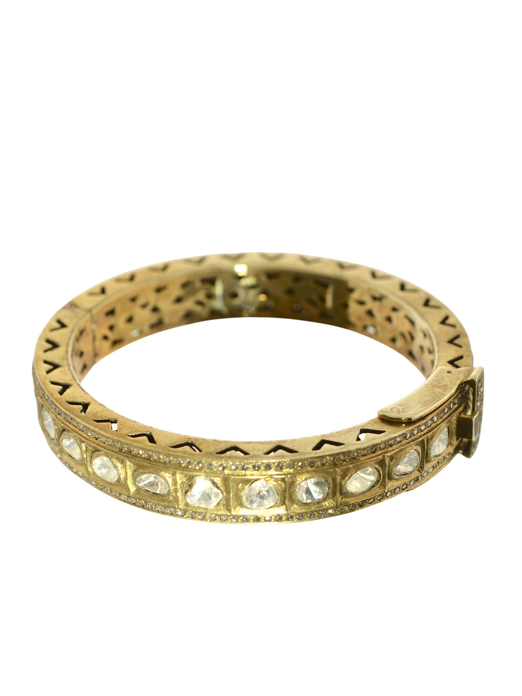 Rose Cut and Pave Diamond Brass Bangle