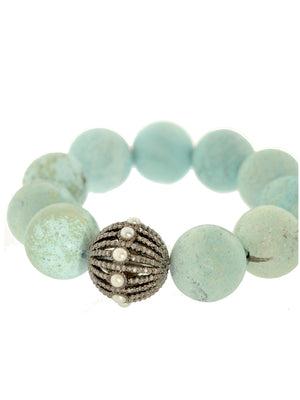 Raw Turquoise Bracelet with Pave Diamond and Pearl Bead