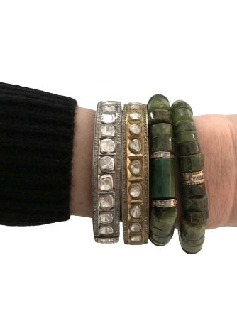 Peridot Bracelet with Baguette Diamond Bead in BrassStretch bracelet, great stacked or alone.