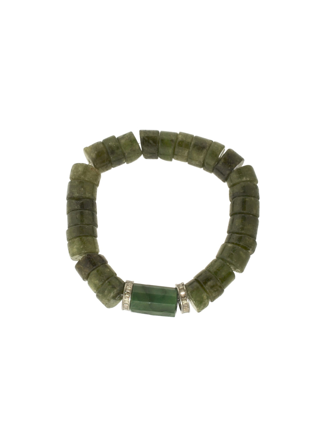 Peridot Bracelet with an Apatite Bead by two Sterling Silver Diamond Baguette Beads