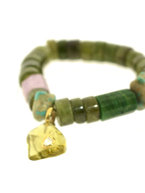 Peridot Bracelet with a Dimond Set in a Citrine Charm with Turquoise and Kunzite