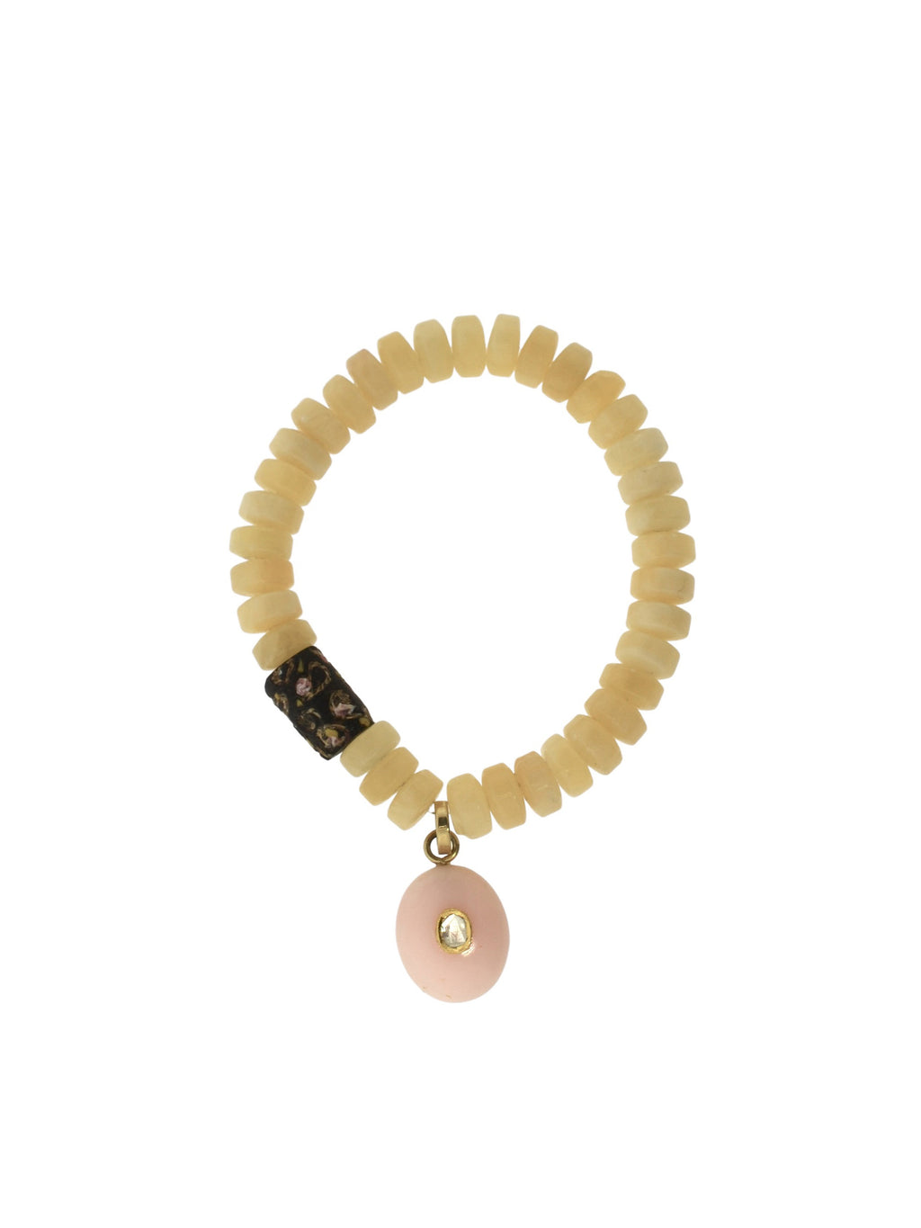 Citrine Bracelet with a Diamond set in Pink Opal with an African Bead