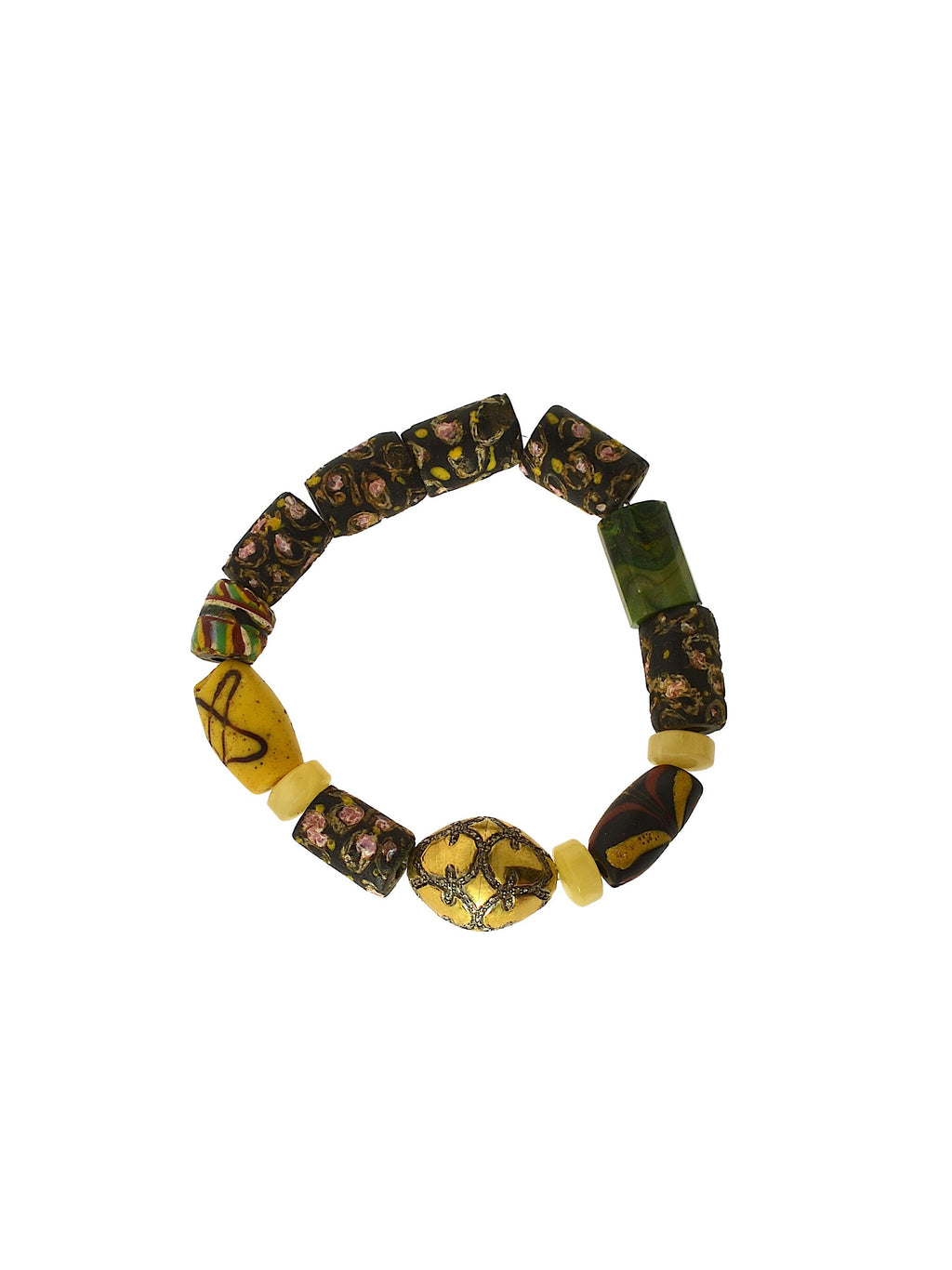 Pave Diamond in Brass Bead on African Beads, with Citrine and Apatite Beads