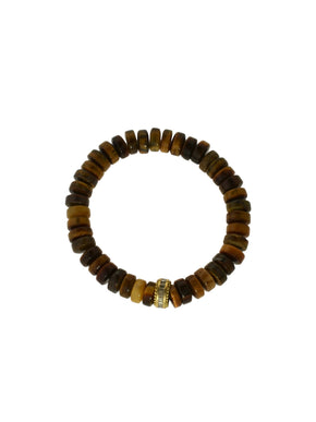 Tigers Eye Bracelet with Diamond Baguettes set in a Brass Bead