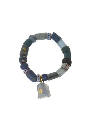 Diamond set in Chalcedony Charm on African Beads