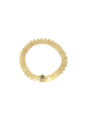 Citrine Bracelet with Diamond Baguette Brass Bead