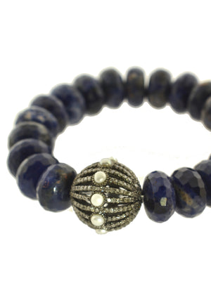 Sodalite Bracelet with Pave Diamond and Pearl Bead