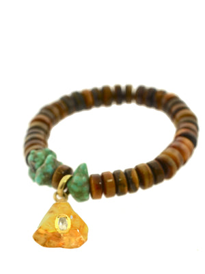 Diamond set in Citrine Charm on Tiger's Eye Bracelet with Turquoise