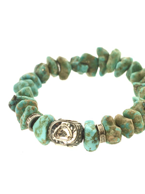 Turquoise Bracelet with Rose cut and Pave Diamond Bead