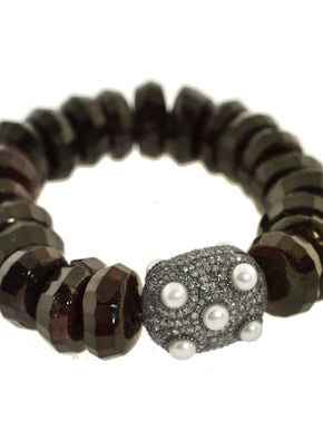 Garnet Bracelet with Pearl and Pave Diamond Bead