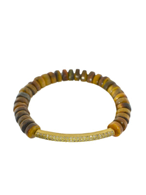 Pave Diamond Brass Bar Tiger's Eye Bracelet