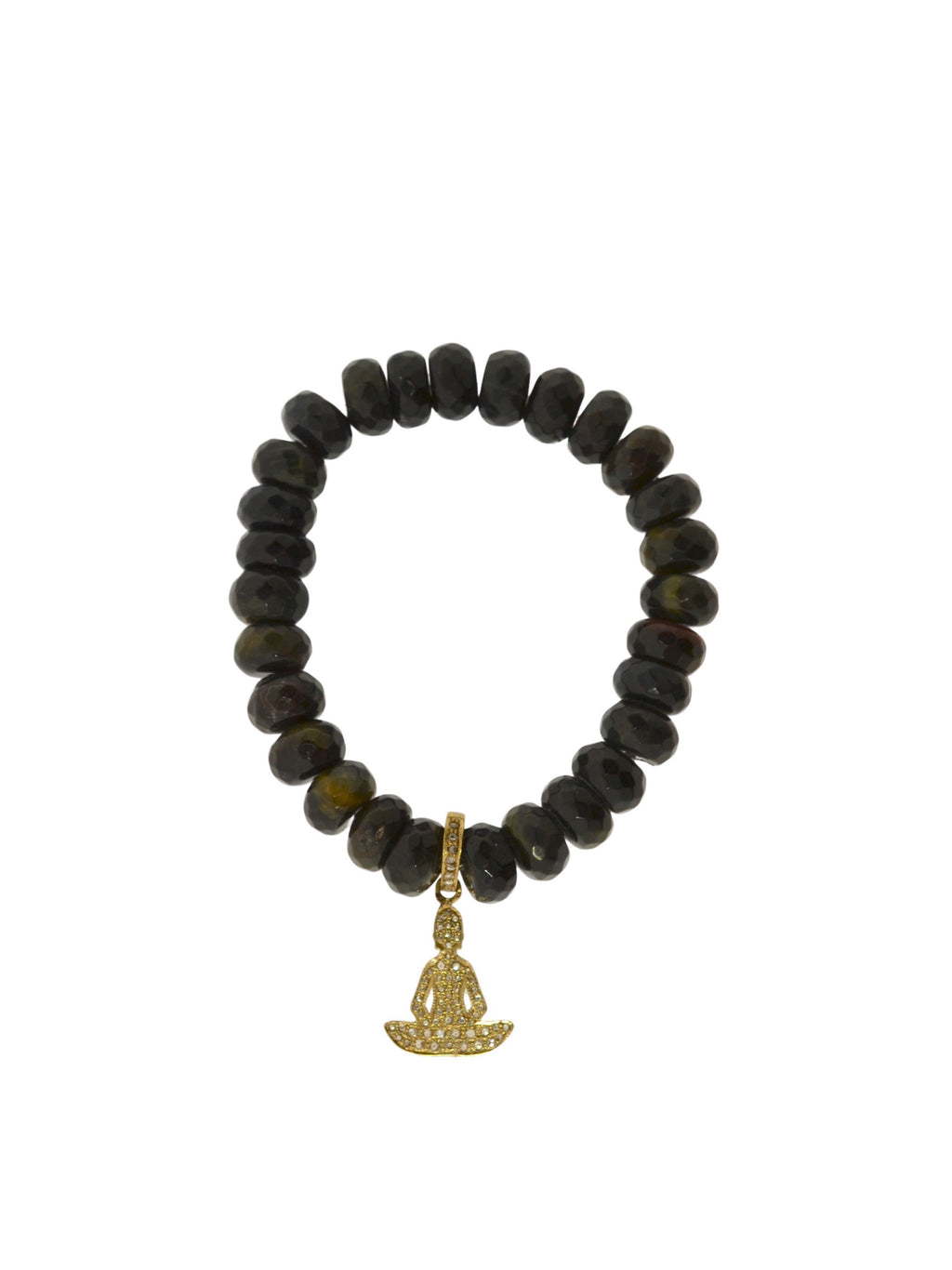 Pave Diamond Brass Buddha Charm on Blue Tigers Eye Beads