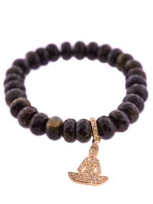 Pave Diamond Brass Buddha Charm