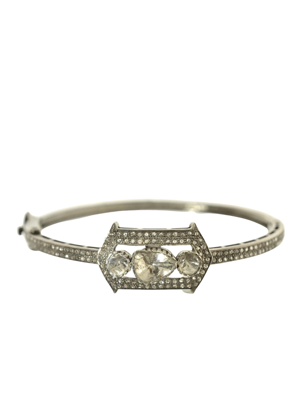 Pave and Rosecut Diamond Vintage Inspired Bangle