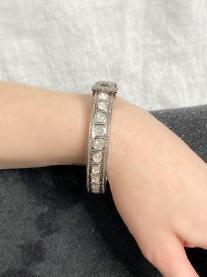 Classic Sterling Silver Bangle with Rosecut and Pave Diamonds