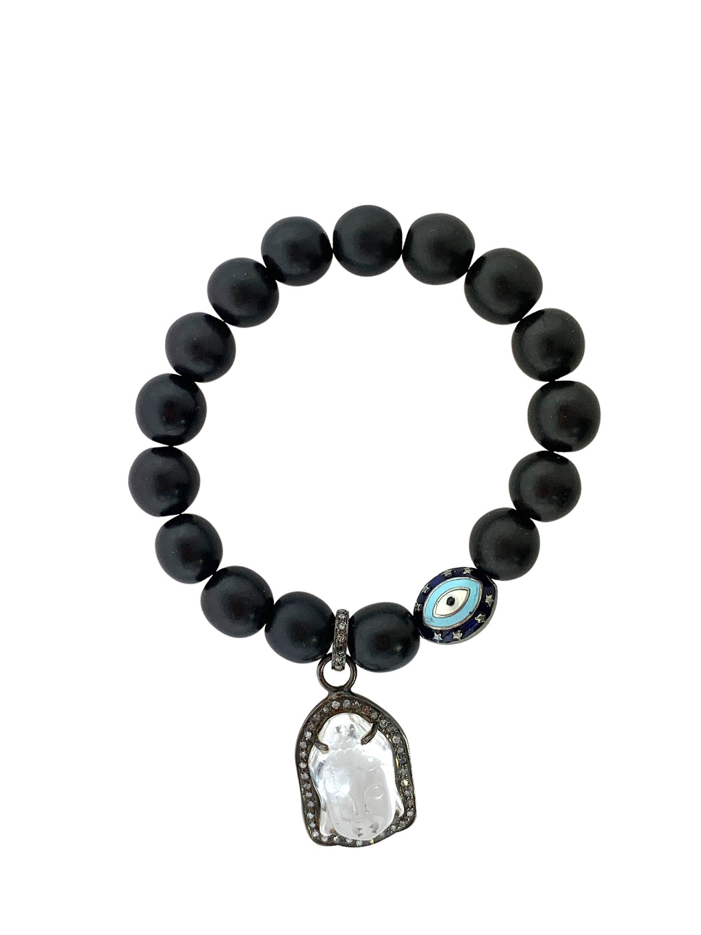 Pave Diamond Crystal Buddha and Enamel  Evil Eye on Ebony Wood