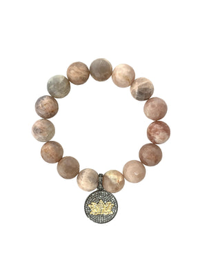 Pave Diamond Mix Metal Lotus Flower on Peach Moonstone