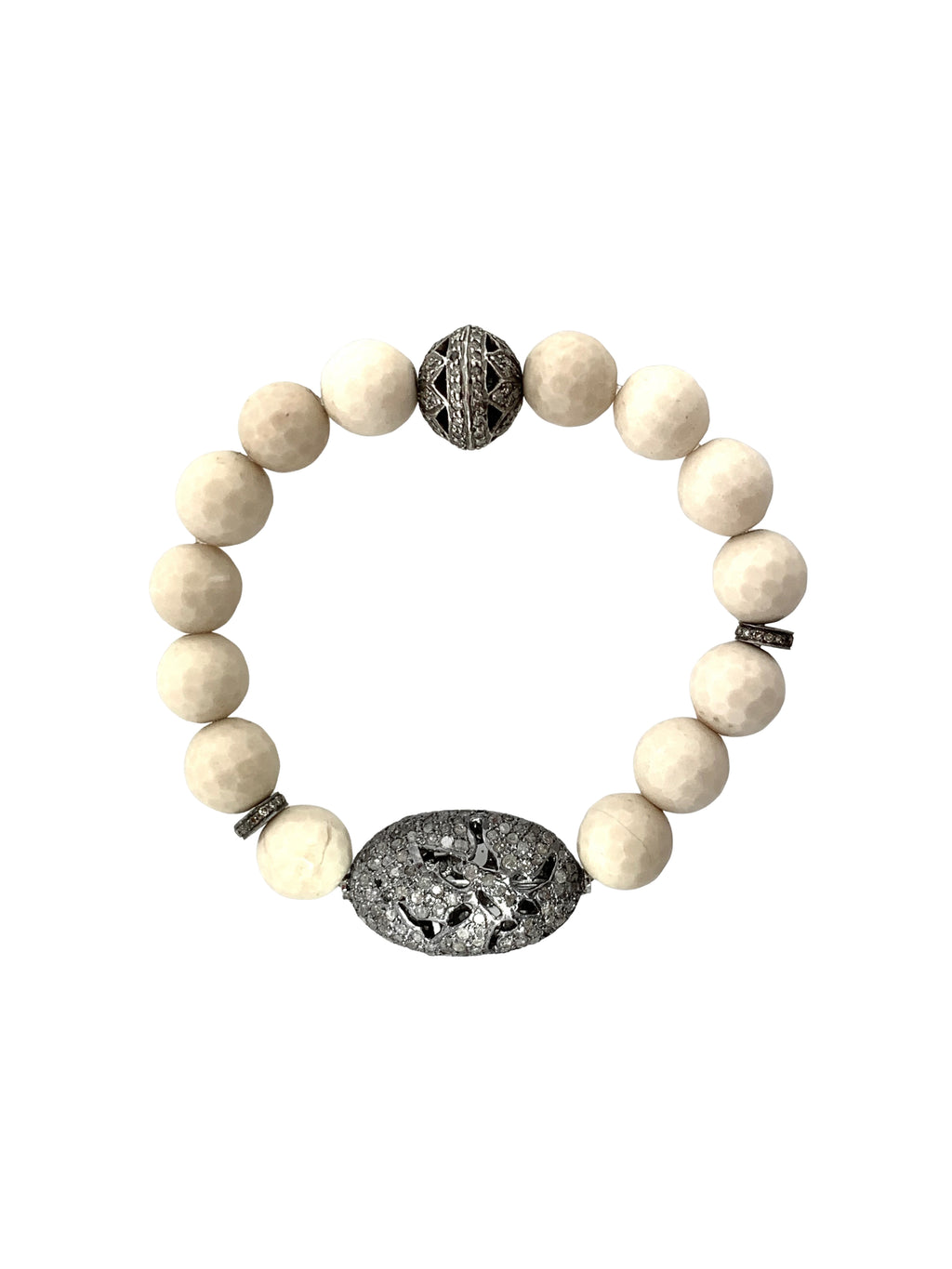 Pave Diamond Beads on Fossilized Coral