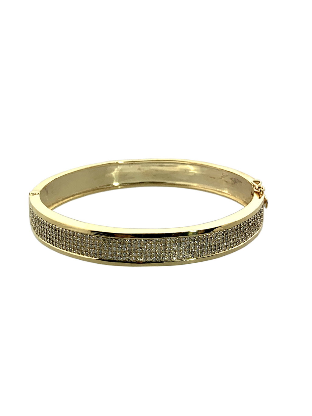 Brass Bangle with one side Micro Pave Diamonds