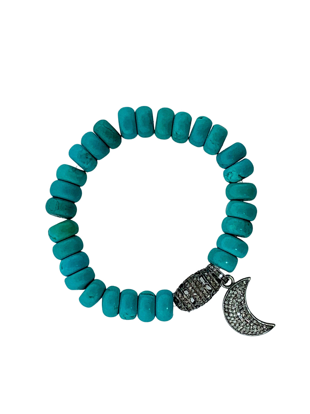 Turquoise Beads with Pave Diamond Bead and Moon