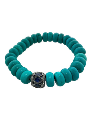 Sapphire and Diamond Bead on Turquoise
