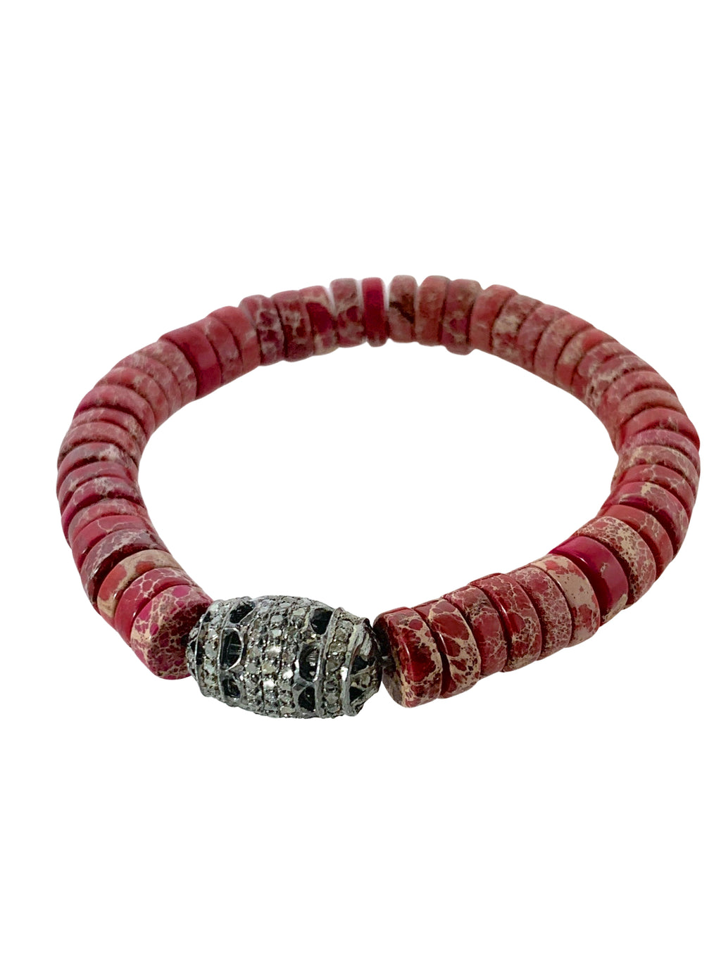 Pave Diamond Bead on Red Jasper Small Beads