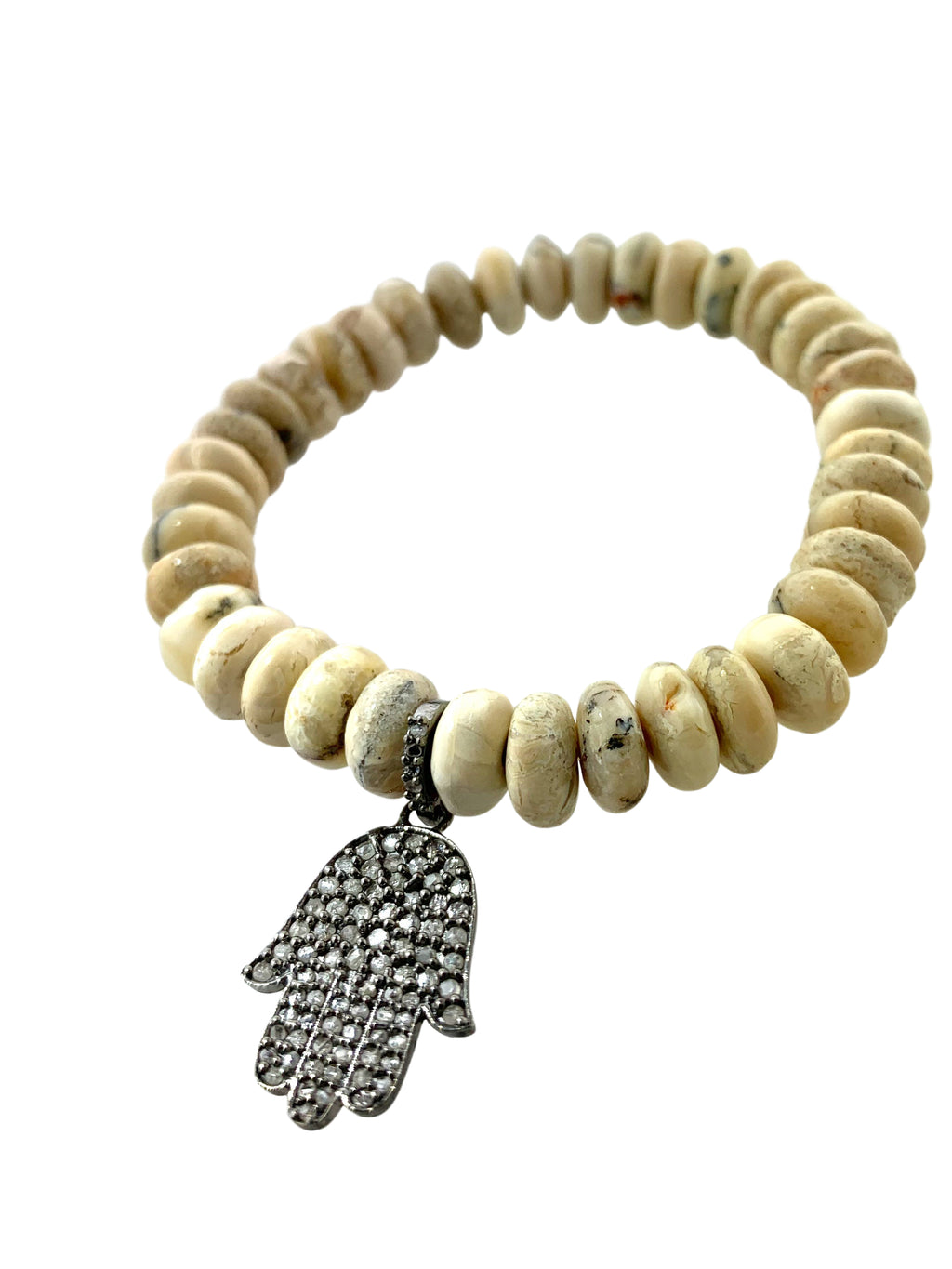 Pave Diamond Hamsa set in Sterling Silver on Jasper