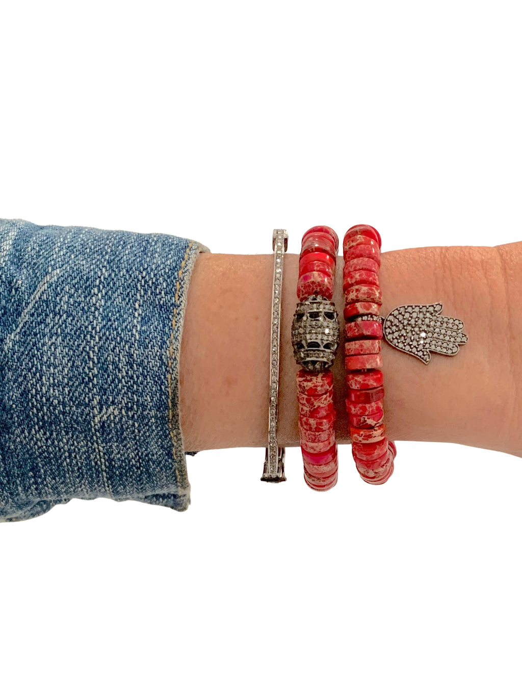 Pave Diamond Hamsa set in Sterling Silver on Red Jasper