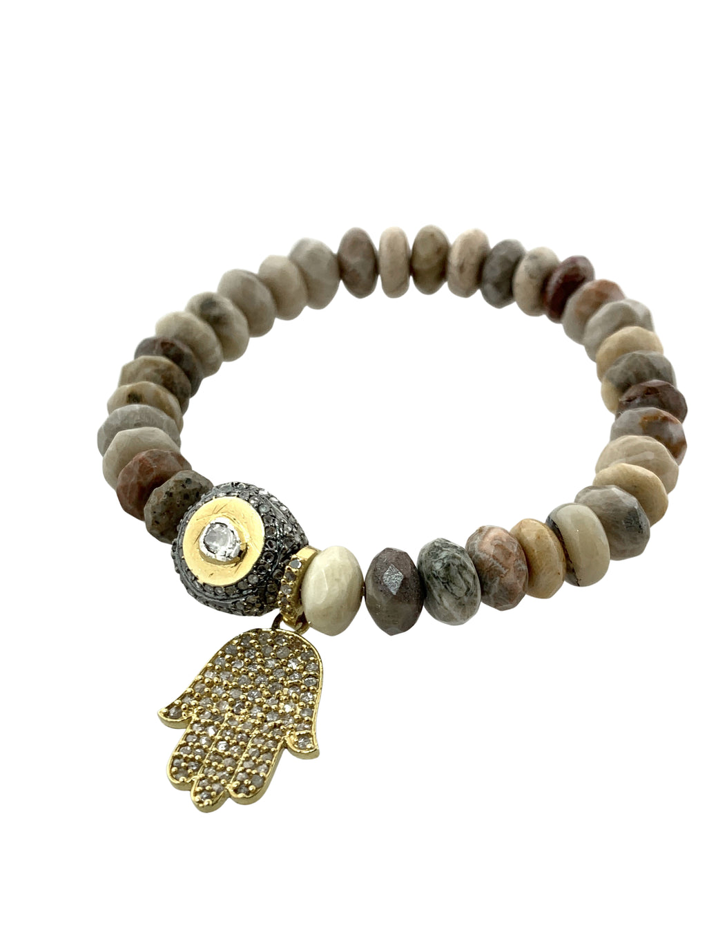 Pave Diamond Hamsa in Brass with Diamond Bead set in Sterling Silver and Brass on Faceted Jasper