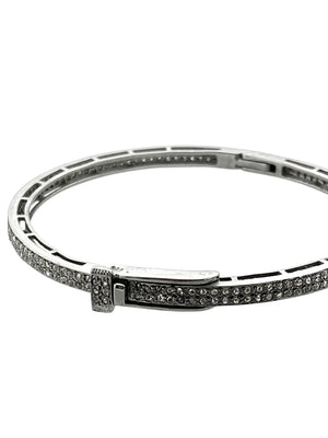 Pave Diamond Double Row set in Sterling Silver