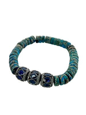 Three Sapphire Diamond Beads on Turquoise